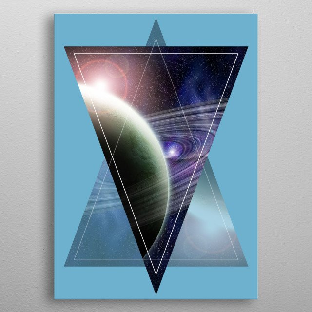 Geometric design with a space scene in it. A planet with rings in space. metal poster
