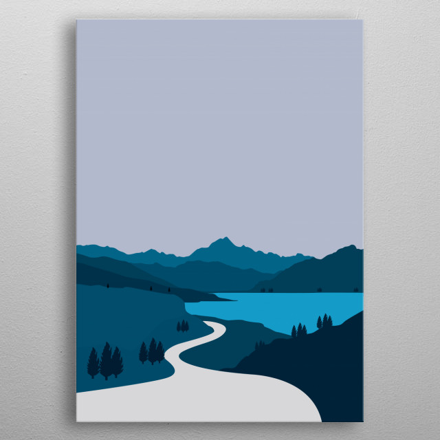 Illustration of streets in the mountains and lakes with a flat style minimalist design metal poster