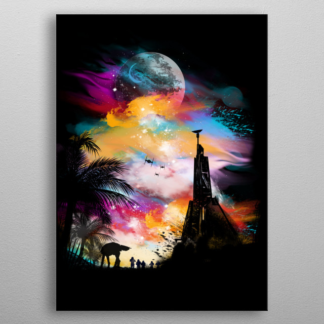they have beautiful sunsets on this planet metal poster