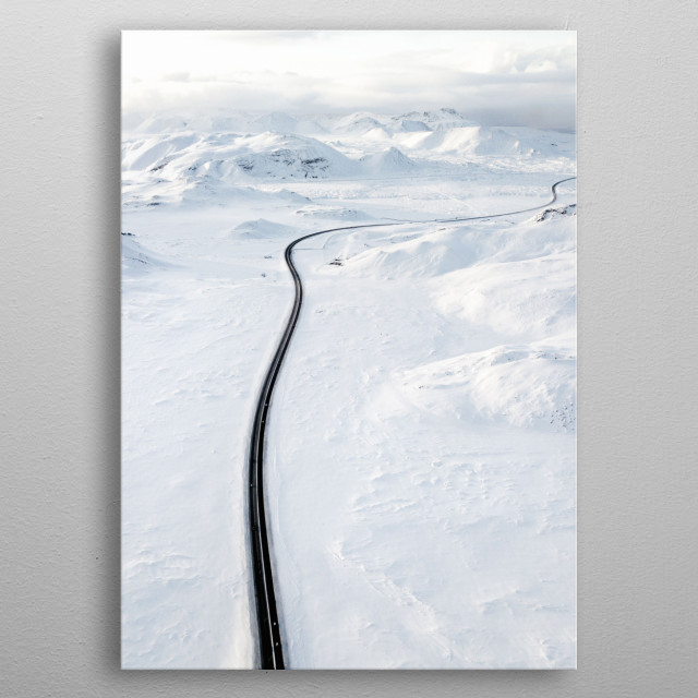 Road between mountains, Iceland metal poster