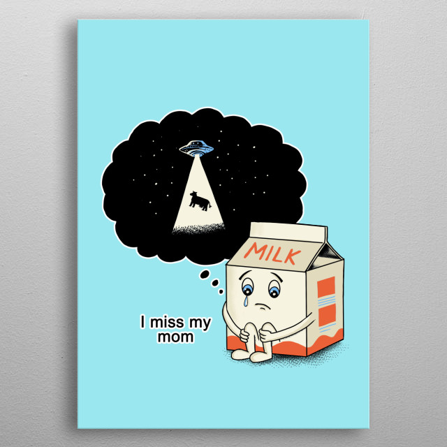 Funny illustration inspired by the abduction cow metal poster