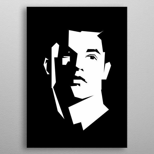 Cristiano Ronaldo in black and white style metal poster