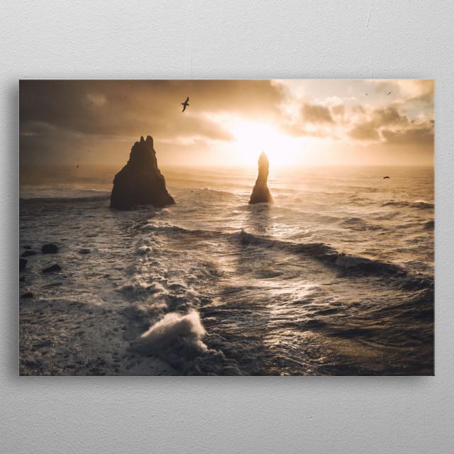 Sunrise, Vik beach metal poster