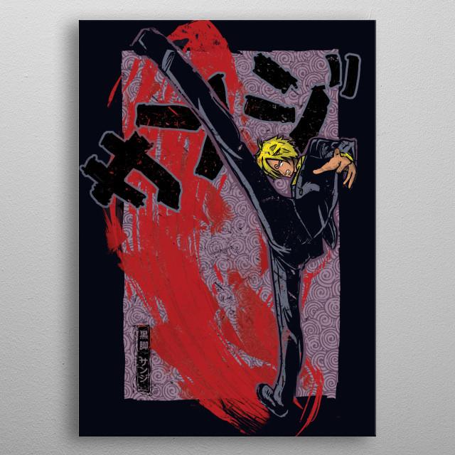 Traditional Black Leg Sanji One piece anime metal poster