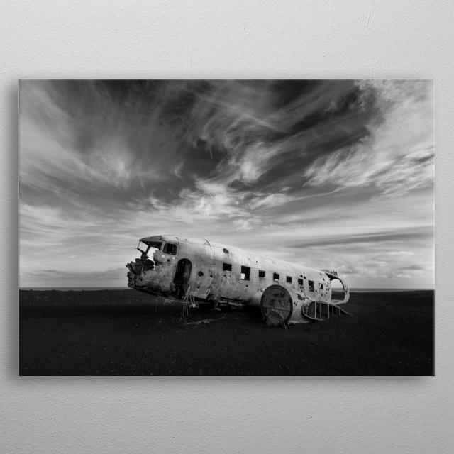 Plane wreck, Iceland metal poster