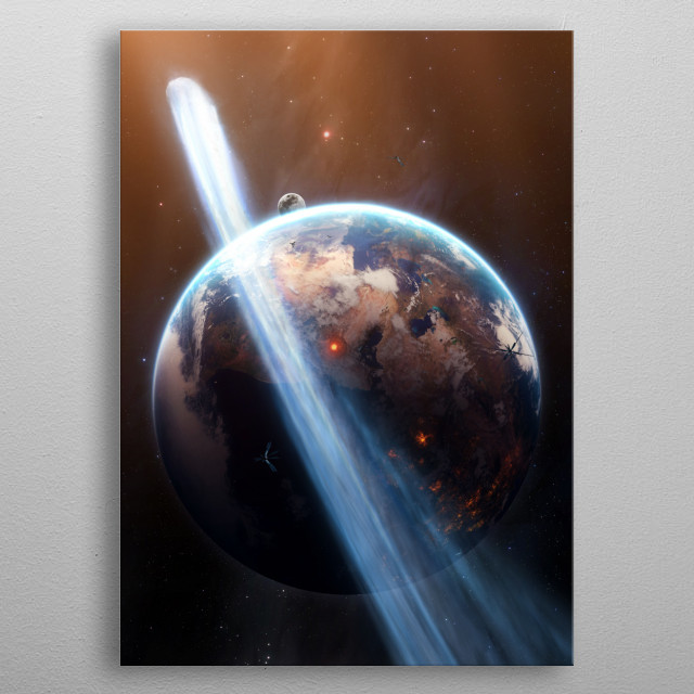 A comet passing future earth. metal poster
