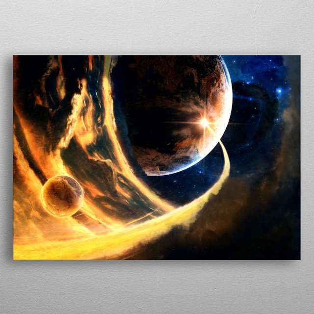 An unknown event happening in a solar system somewhere in space. metal poster