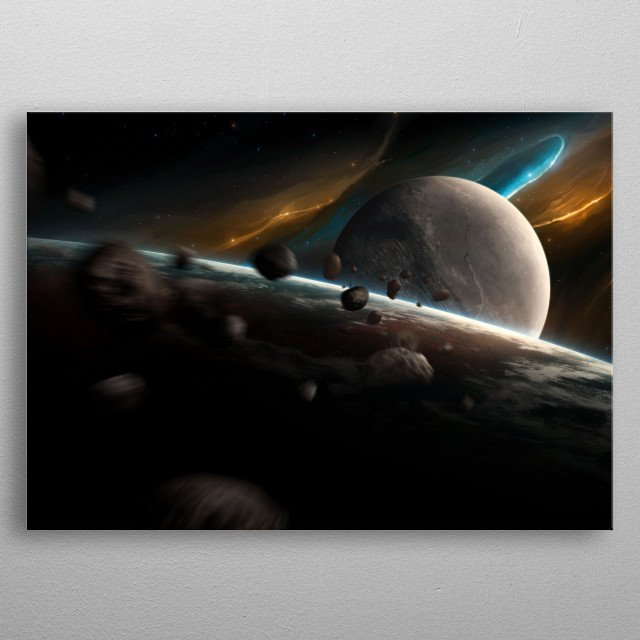 A fictional planet and moon somewhere in space. metal poster