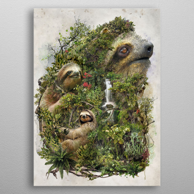 My original animal art of the sloth metal poster