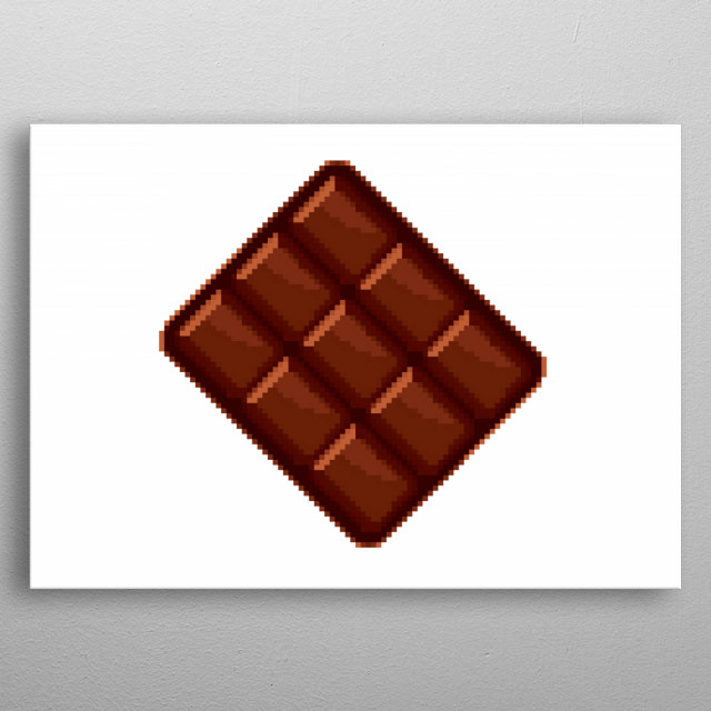Pixel art: a tasty brown chocolate bar, can be divided in nine pieces.  metal poster