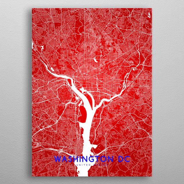 Washington DC map metal poster