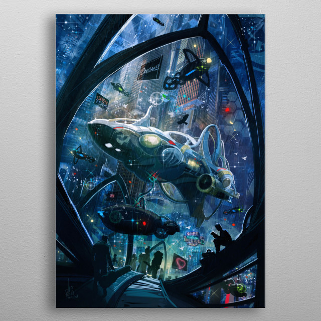 Science fiction scene depicting a spaceport, some spaceships, and a blade runner style city under a romantic setting. metal poster