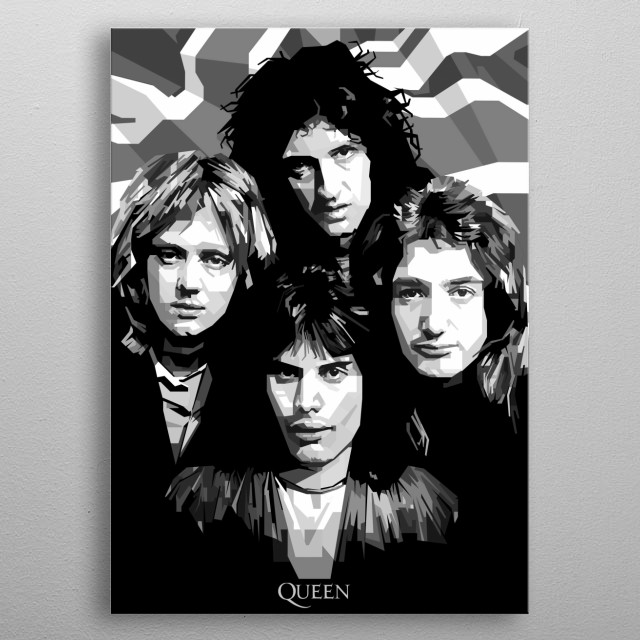 Queen are a British rock band that formed in London in 1970. Their classic line-up was Freddie Mercury Roger Taylor Brian May John Deacon metal poster