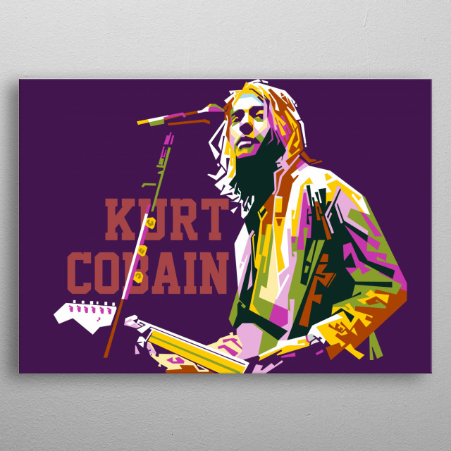 with a straight line technique, this art makes Kurt Cobain's object so beautiful, energicly, and amzing that it blends in pop colors metal poster