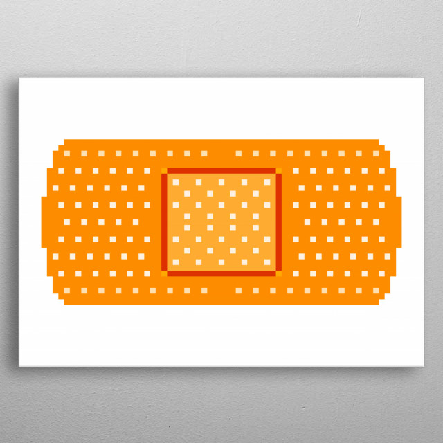 Pixel art: a brown band-aid (adhesive bandage with a gauze pad in the center, used to cover minor abrasions and cuts).  metal poster