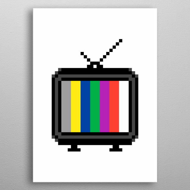 Pixel art: a retro vintage old analog tv, with an external antenna, showing a simple colorful test pattern made of vertical stripes.  metal poster