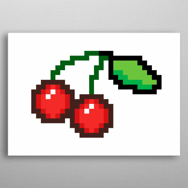 Pixel art: a pair of ripe red cherries, united by the stems, with a small leaf at the end.  metal poster