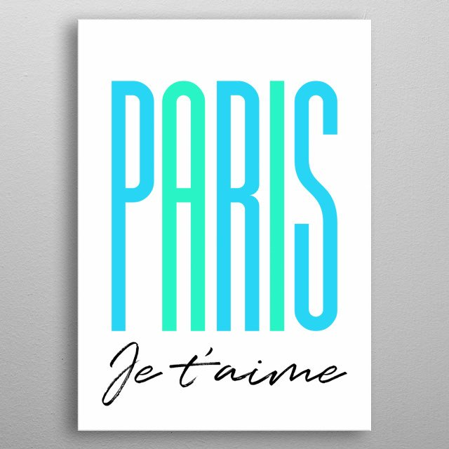 Paris I Love You in french metal poster