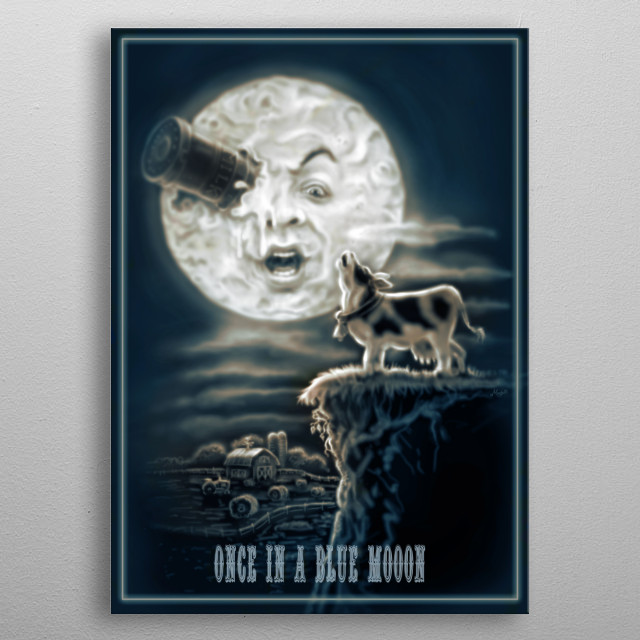 Once in a Blue Mooon features Vintage Style Farm Scene with Dairy Cow Howling or Mooing at an Epic Full Moon. metal poster