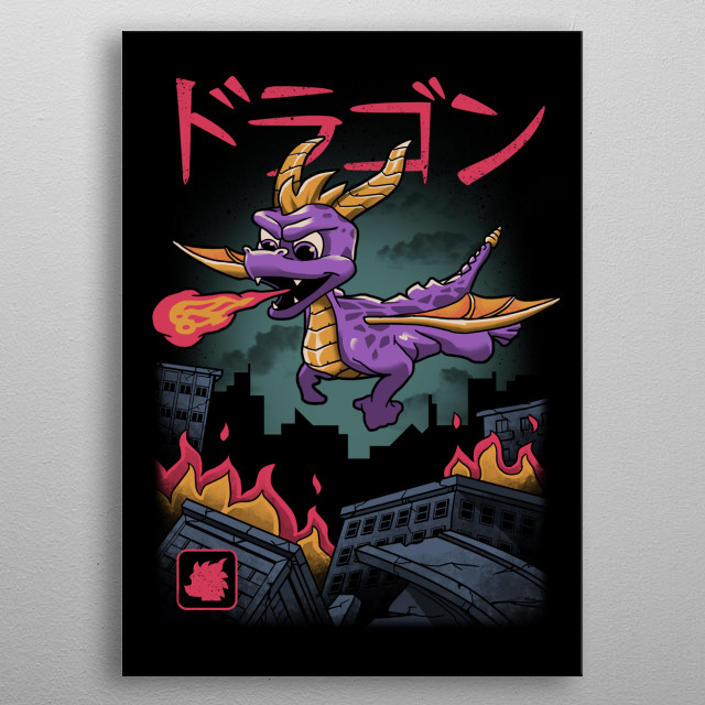 Spyro the dragon wrecking havoc in the city. metal poster