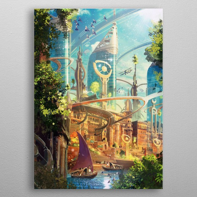 Science fiction world inspired by oriental spiritual themes depicting a retro future city where science and steampunk themes meet. metal poster
