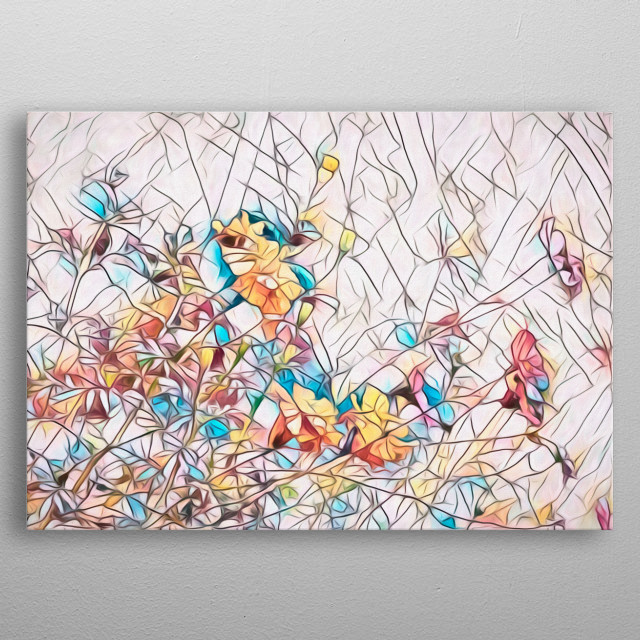 Summer breeze blows through the flowers filling the air with a wonderful sent that makes you smile. Abstract painting by Bob Orsillo.  metal poster