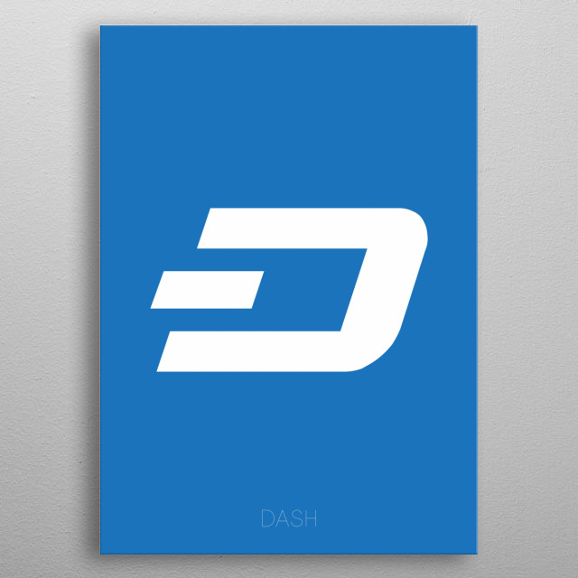 Dash Crypto Logo on blue background. metal poster
