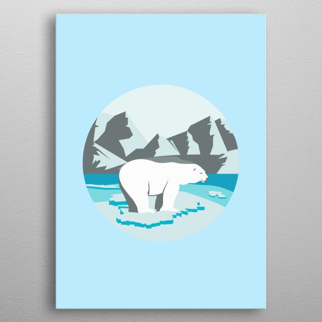 Minimalist polar bear illustration/ poster.  metal poster