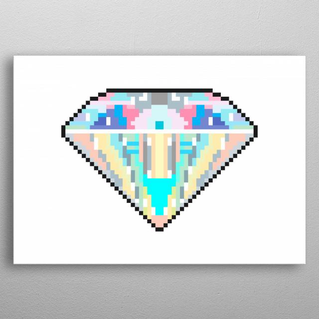 Pixel art: a shiny diamond gem.  metal poster