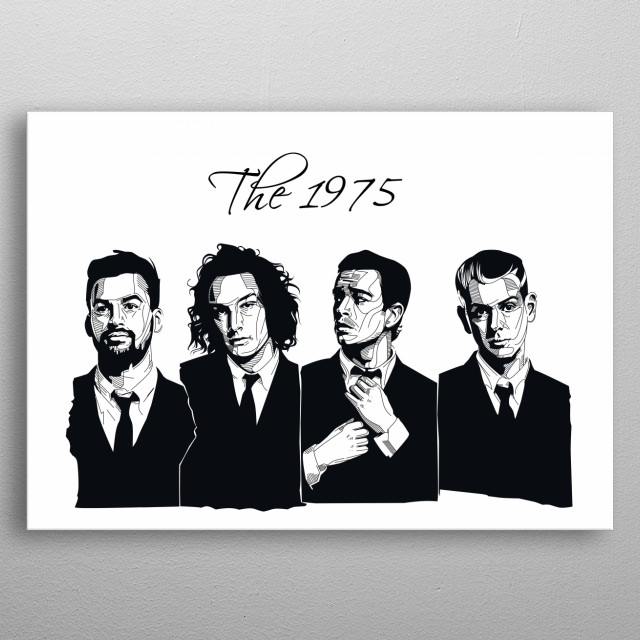This is the 1975 all members in black n white metal poster