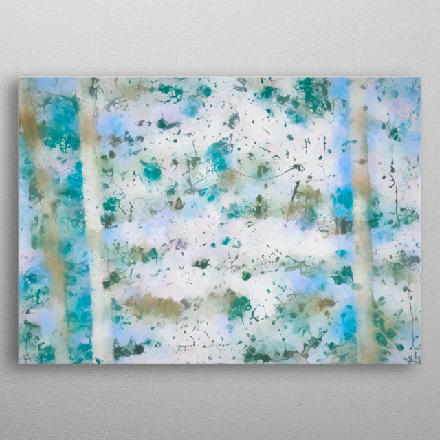 Beautiful bright colorful winter landscape abstract painting. Walking between the birch / aspen trees by American artist Bob Orsillo.  metal poster