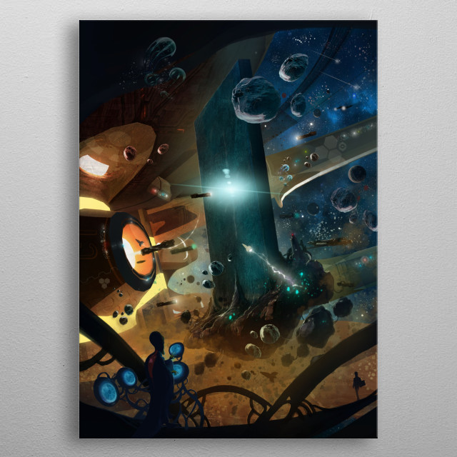Stargate space station inspired by the Monolith alien race of 2001 Space Odyssey featuring an epic cosmos scenery, aliens and spaceships. metal poster