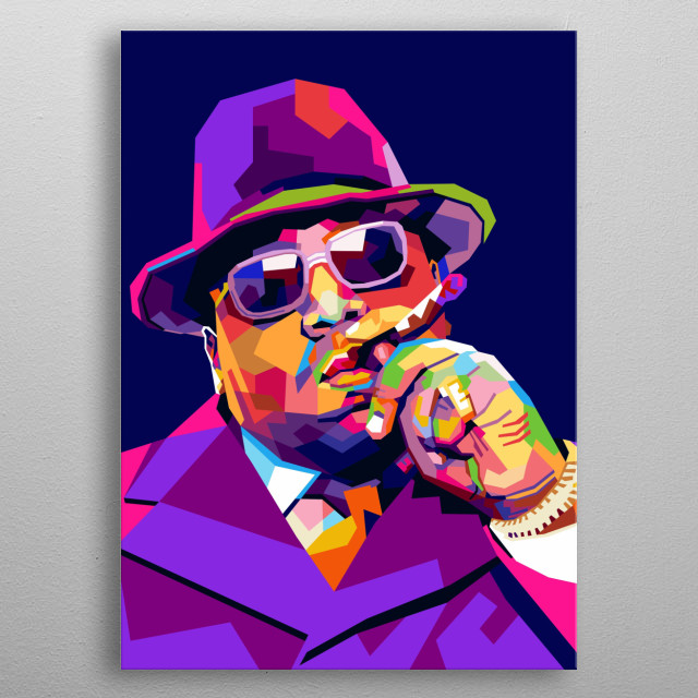 The Notorious BIG is a rapper singer of all time. a modern pop art illustration metal poster