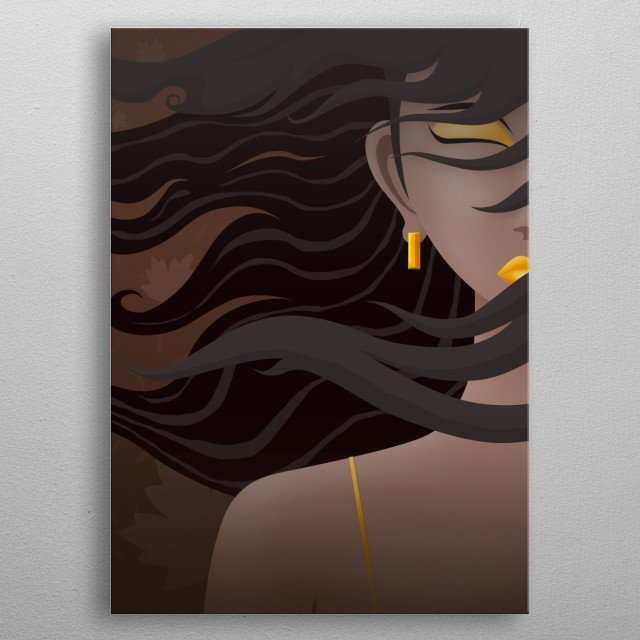 Long haired woman cartoon image metal poster