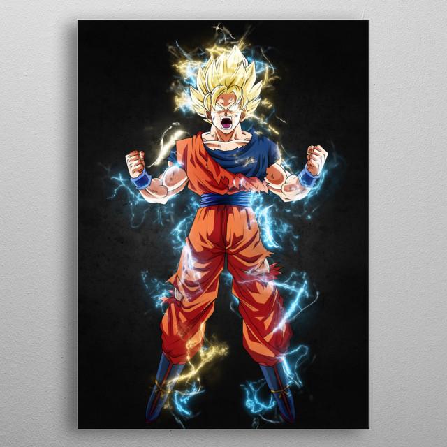 Goku, thunder effect metal poster