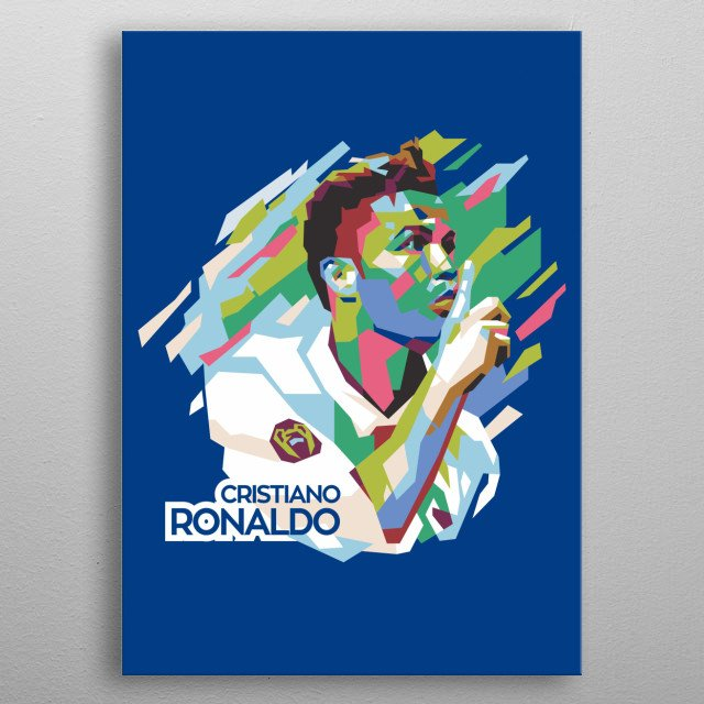 inspired by his success in winning every soccer match so I made Ronaldo illustrations with straight line techniques combined with pop colors metal poster