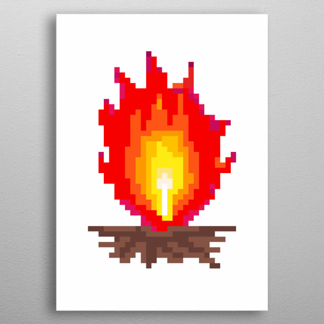 Pixel art: a camp fire, with big high red flames.  metal poster