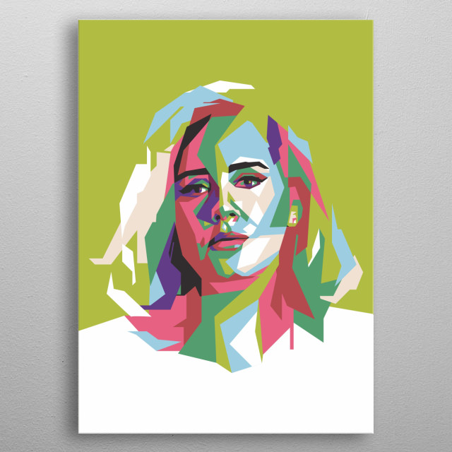 with a straight line technique, this art makes Adele's object so beautiful that it blends in pop colors metal poster