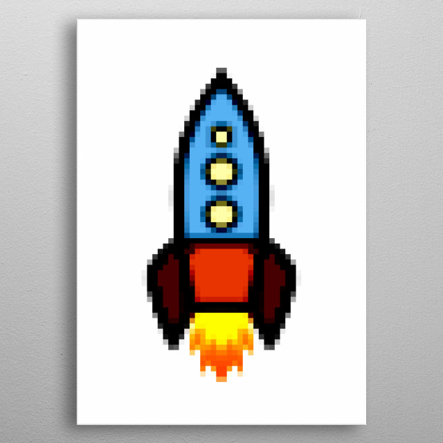 Pixel art: a retro rocket ship travelling into space.  metal poster