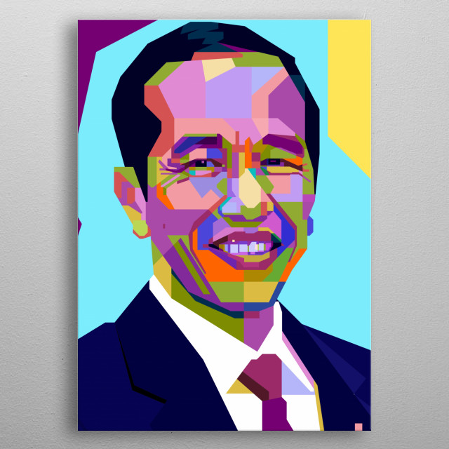 this illustration is inspired by the Indonesia 7th President, Mr. Ir. Joko Widodo. metal poster