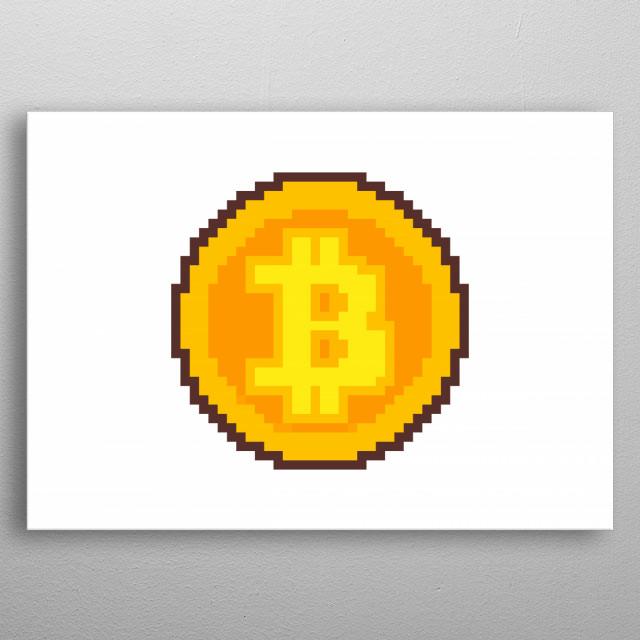 Pixel art: a golden bitcoin.  metal poster