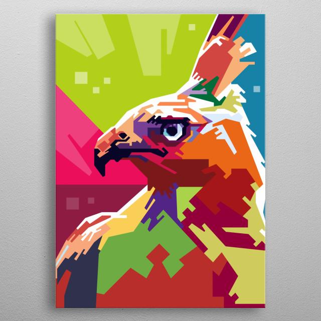 this is javanese Eagle in pop art metal poster