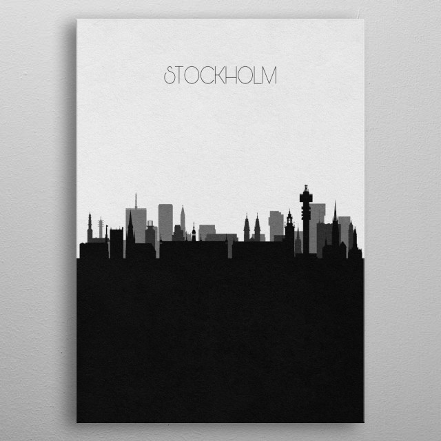 Black and white skyline illustration of Stockholm, Sweden. This minimalistic poster features famous landmarks and buildings of the city. metal poster