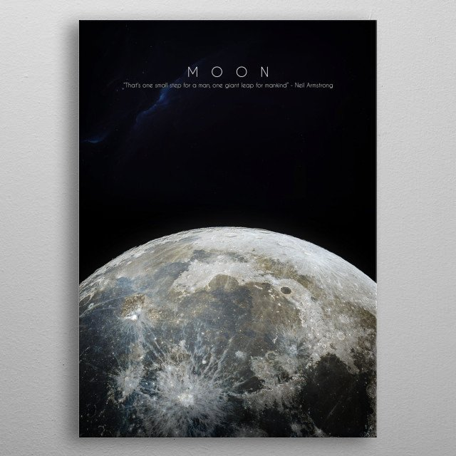 Moon of Earth metal poster