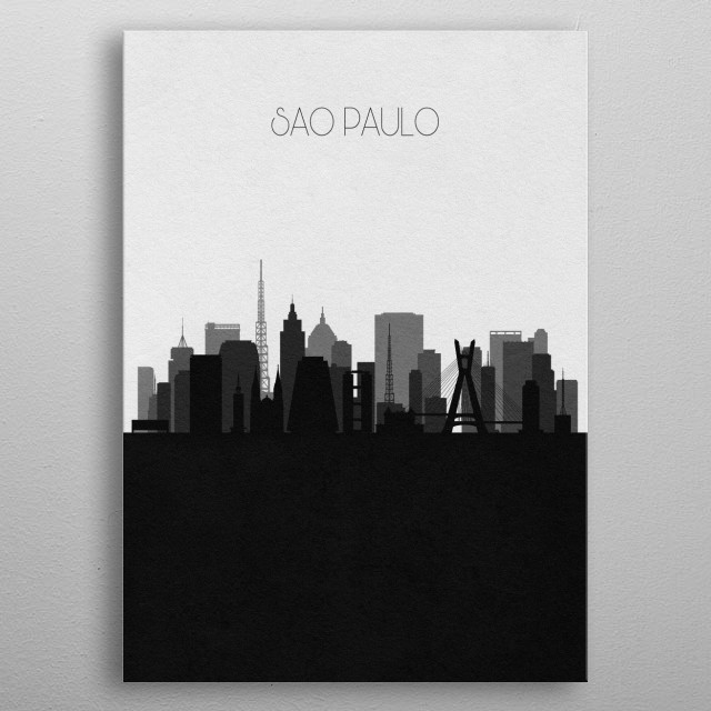 Black and white skyline illustration of Sao Paulo, Brazil. This minimalistic poster features famous landmarks and buildings of the city. metal poster