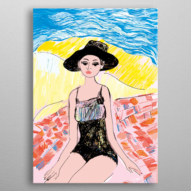 Vintage illustration of a girl on the seaside, relaxing on the beach. Colourfull drawing. All rights reserved. metal poster