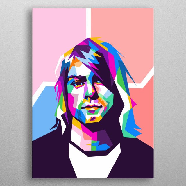Kurt Donald Cobain is a singer, songwriter and guitarist in a grunge band from Seattle, Nirvana. metal poster