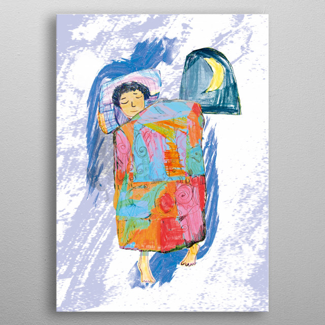Colourfull illustration with a sleeping child. Nice design for kid's room. All rights reserved. metal poster