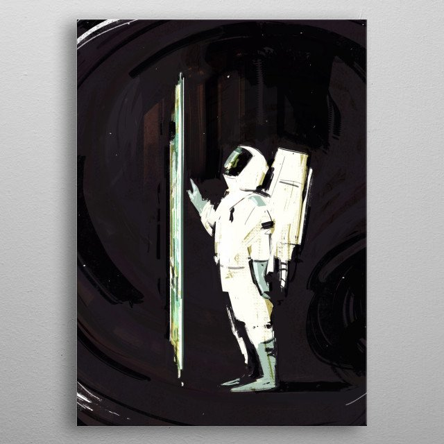 This illustration is inspired by the Space Odyssey book atmosphere ,suspended in time and full of questions. metal poster