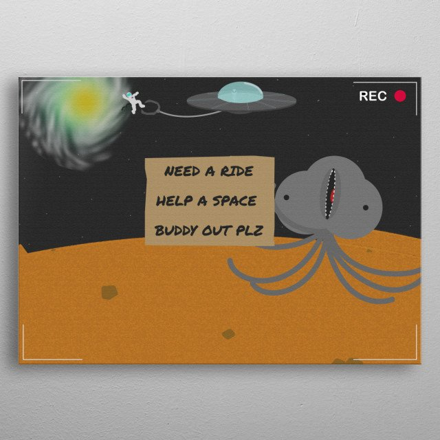 Just a funny image of a hitchhiking alien. metal poster